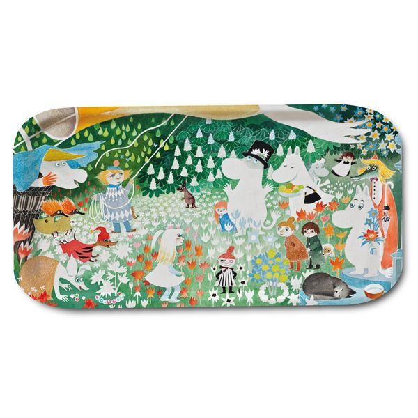 """Beautiful multicolored, handmade tray with a motif taken from Tove Jansson's original illustrations from the book """"Dangerous Journey"""". Featuring the Moominfamily in exquisite colors, make your moments more beautiful at the dinnertable! High quality wood, made in Sweden. Suitable for dishwasher. Size 53x32cm."""