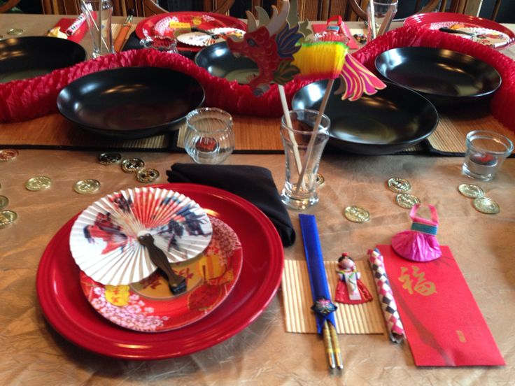 Chinese New Year - Asian tablescape (with little fun toys for the kids).