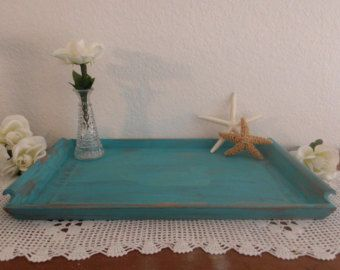 tiffany blue rustic home | Blue Serving Tray Rustic Shabby Chi c Distressed Aqua Turquoise Teal ...