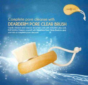Dearderm Pore Clear Brush by DearDerm. $28.95. Softer than velvet yet deep cleans without harshness. Compare with 310,000 bristles products.. Cleanses dirt and exfoliates dead skin cells thoroughly, providing clean, silky, glowing skin.. Deep Cleans clogged pores. Complete pore cleanse brush.. Short Description Pore Clear Brush   Detailed Information A cleansing brush designed with soft, special fine hairs to gently provide mild cleansing of the skin. The comb...