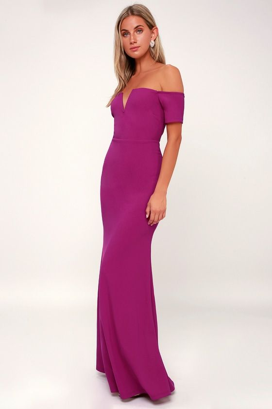 fa9b82016d67 We are loving the Lulus Lynne Magenta Off-the-Shoulder Maxi Dress!  Off-the-shoulder sleeves meet the strapless neckline with no-slip strips  and a sultry ...
