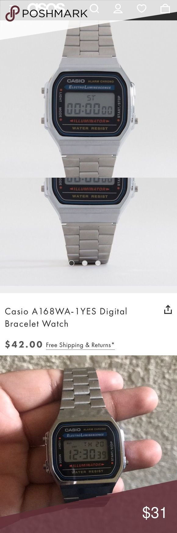 CASIO Silver Watch w/ Backlight Chic and stylish men's wear looking watch that is in great condition. Worn once and it still works! Feel free to make an offer through the offer button :) Casio Accessories Watches
