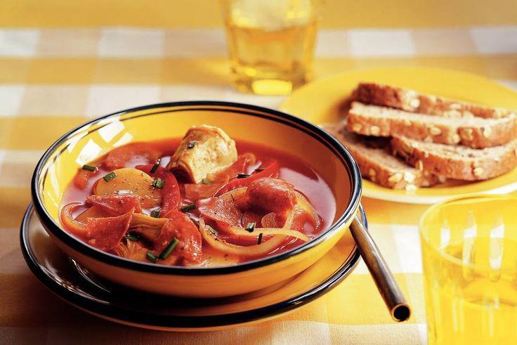 Kijk wat een lekker recept ik heb gevonden op Allerhande! Spaanse aardappelsoep met artisjokharten