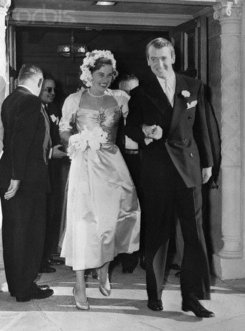 Jimmy and Gloria Stewart - wedding at the Brentwood Presbyterian Church, Cali - Aug 9,1949 - They would remain married until her passing in 1994.
