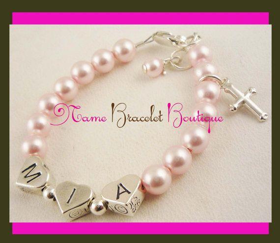 Baptism Bracelet Baby Girl Bracelet Name Cross by NameBracelets, $46.50
