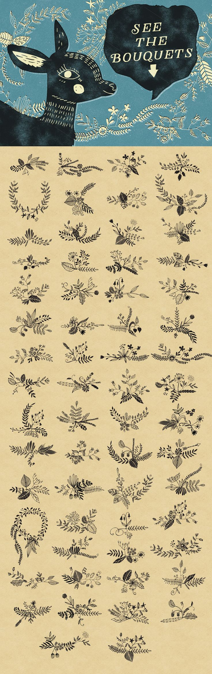 Combine this hand drawn floral elements and create lovely bouquets. There´s a lot of possibilities! The set includes: more than 200 elements 60 pre-made floral bouquets ready to use 4 EPS