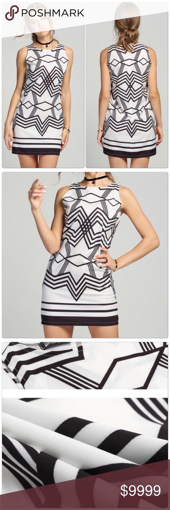Geometric Pattern Short Dress Very Cool Geometric Pattern A-Line Short Dress, Material: Polyester Collar: Round Neck Dress Length: Above Knee Pattern: Geometric Pattern Closure Type: Zipper Back.                                                                                              ✅Price is firm unless bundle                                                                                                                             ❌NO TRADES. ❌NO LOWBALL OFFERS Dresses Mini