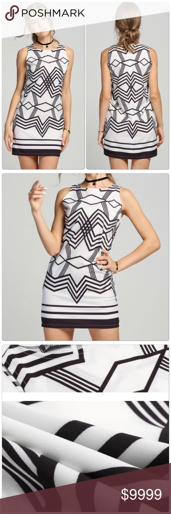 Geometric Pattern Short Dress Very Cool Geometric Pattern A-Line Short Dress, Material: Polyester Collar: Round Neck Dress Length: Above Knee Pattern: Geometric Pattern Closure Type: Zipper Back.                                                                                              ✅Price is firm unless bundle                                                                                                                             ❌NO TRADES. ❌NO LOWBALL OFFERS Dresses Mini