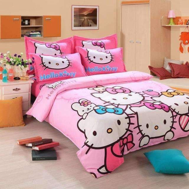 Hello Kitty Bedding Set Children Cotton Bed Sheets Hello Kitty Duvet Cover Bed Sheet #BedSheets