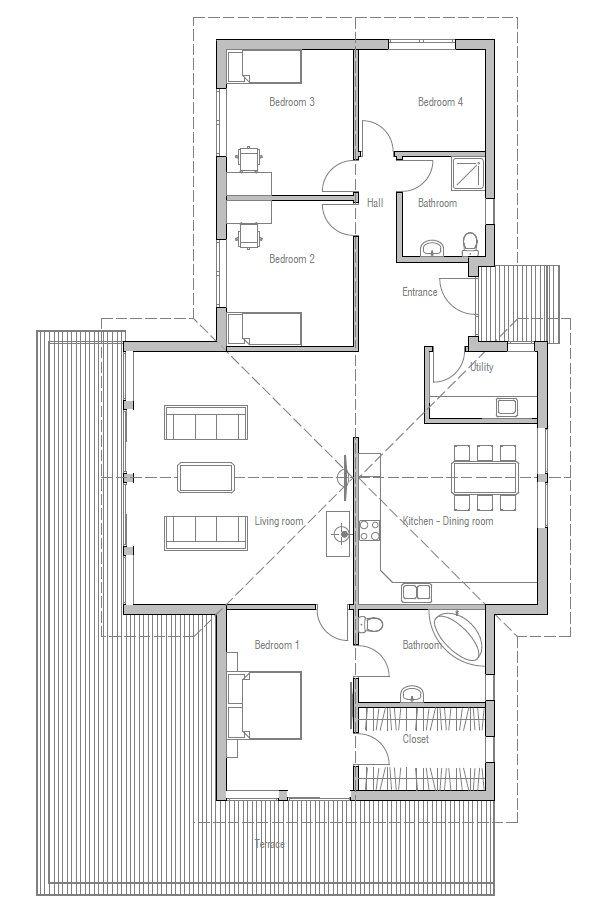 Projeto de casa pequena com quatro quartos e um teto abobadado na sala de estar, quarto principal e cozinha.