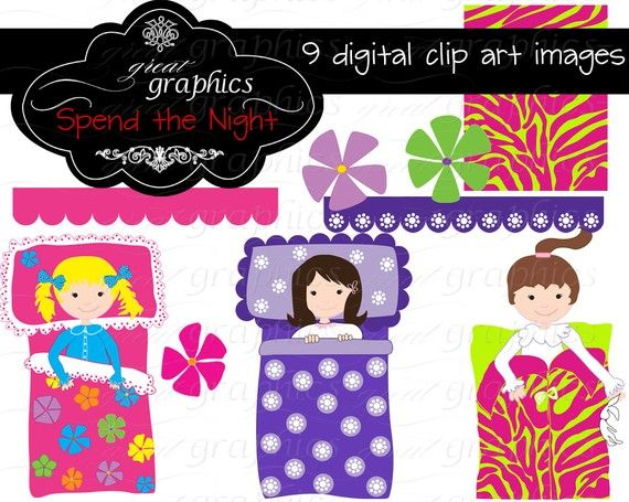 Slumber Party Clipart Girls Slumber Party Clip by GreatGraphics, $5.00