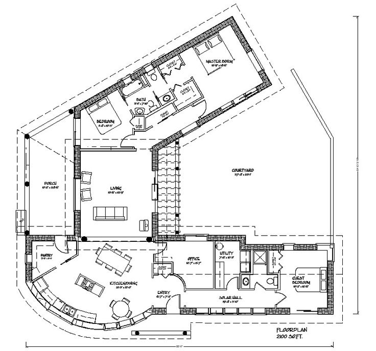 3 bedroom cob housethe one but office bath in one wing - Unique House Plans