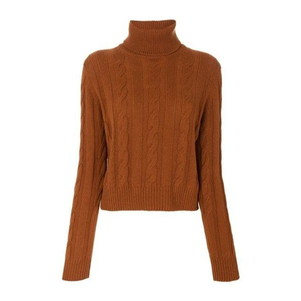 THE GIGI Cable Knit Jumper ($287) ❤ liked on Polyvore featuring tops, sweaters, brown, brown sweater, chunky cable knit sweater, brown top, jumper top and jumpers sweaters