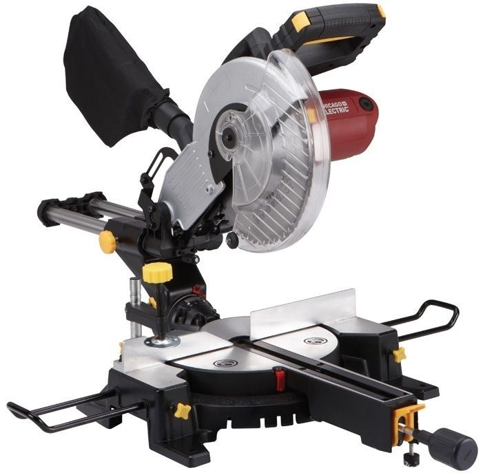 10 in. Sliding Compound Miter Saw with Laser Guide System Construction Tool wood #ChicagoElectricPowerTools