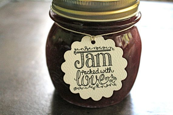 Wedding favor tags, canning tags, 25. Jam Packed with Love design, hearts and berries. Perfect for jam jar favors.. $12.50, via Etsy.