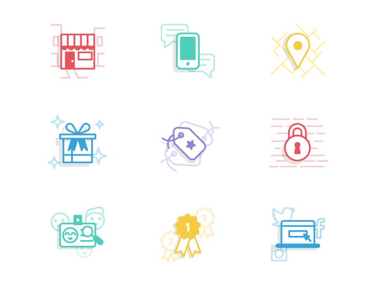 Working on an icon set for a platform that allows brands to reward customers for sharing local experiences on social networks