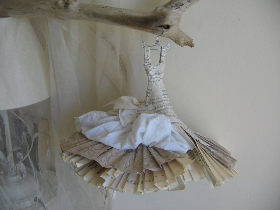 Assemblage Dress Made From Paper and Fabric - Rebecca - Last night I dreamt I went to Manderley again