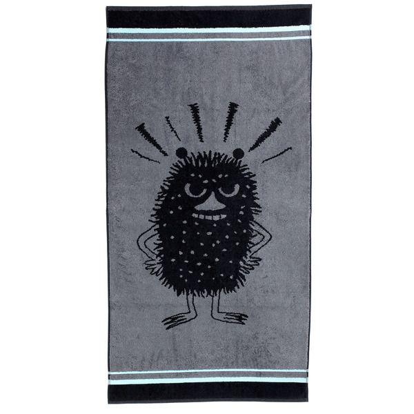 Made for exciting bath moments. Join the adventurous Stinky and enjoy your bath moment. The black and grey towel looks classy with a hint of fun featuring Stinky. The Moomin-towels are inspired by Tove Jansson's original drawings and are authentic ©Moomin Characters™ licensed products.