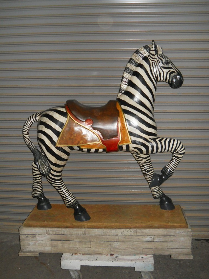 #1B Carousel Zebra. Approximately 60 inches long 55 high (not including the pole). $2500.00 - PLUS crating and shipping charges.! AVAILABLE FOR IMMEDIATE DELIVERY