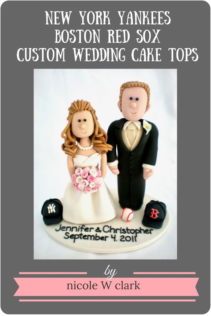 Baseball Wedding Cake toppers.  New York Yankees and Boston Red Sox theme.  Made to order cake toppers by Nicole W Clark.  Bride and groom wedding cake toppers perfect for the wedding day at www.nicolewclark.com .  #baseballcaketopper #bostonredsoxwedding #sportswedding