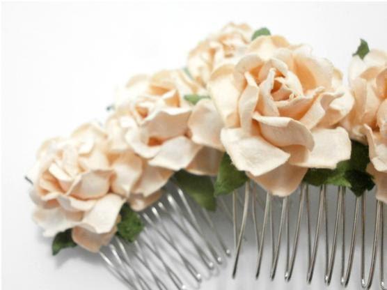 peach rose hair comb bridal accessory summer boho set of two: Rose Bridal, Peaches Rose, Peach Rose, Silver Pl Hair, Rose Hair, Rose Silver Pl, Bridal Hair Combs