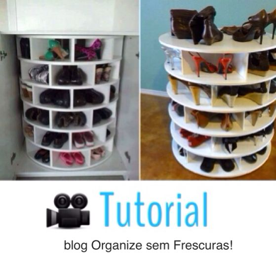Organize sem Frescuras | Rafaela Oliveira » Arquivos » Faça você mesmo- sapateira giratória de madeira