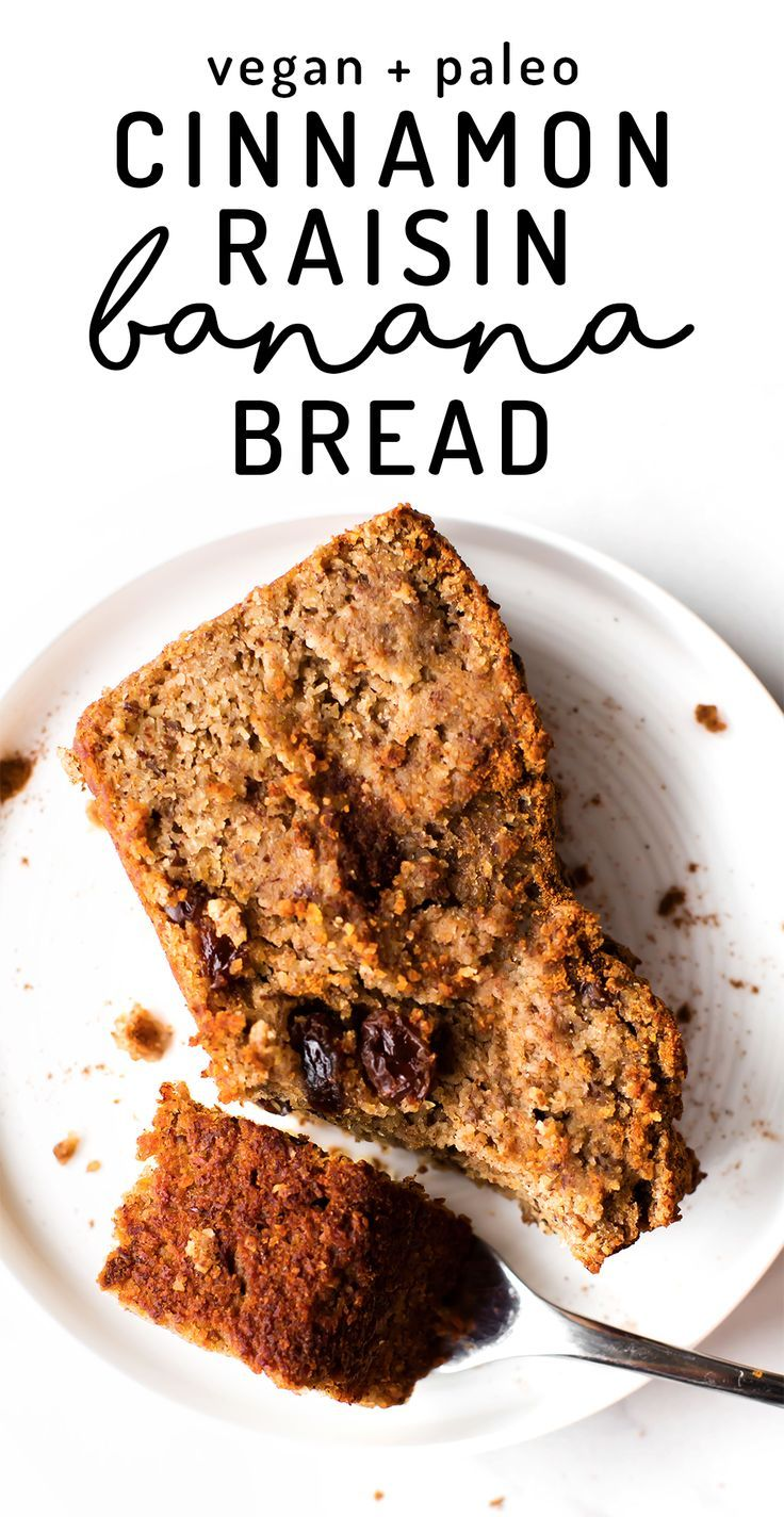 Spiced up with cinnamon and speckled with raisins this vegan, paleo, sugar-free banana bread is a healthy and simple breakfast, snack, or dessert!