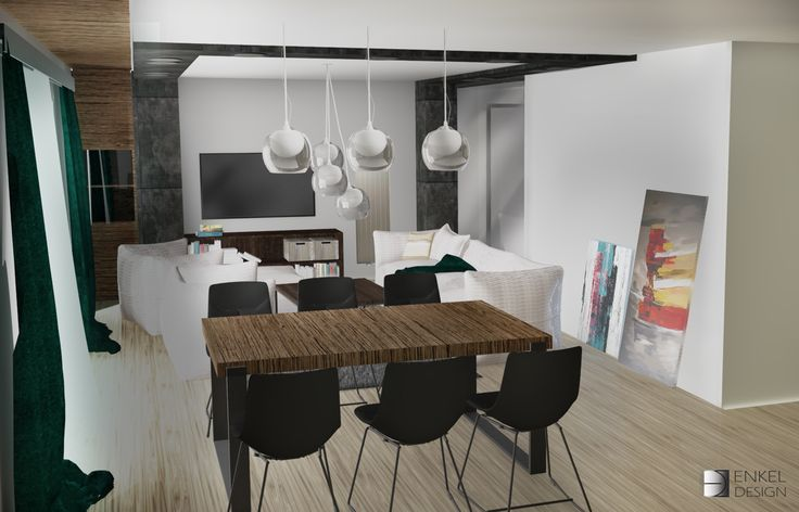 Projekt salonu z jadalnią - Enkel Design. Architektura Wnętrz