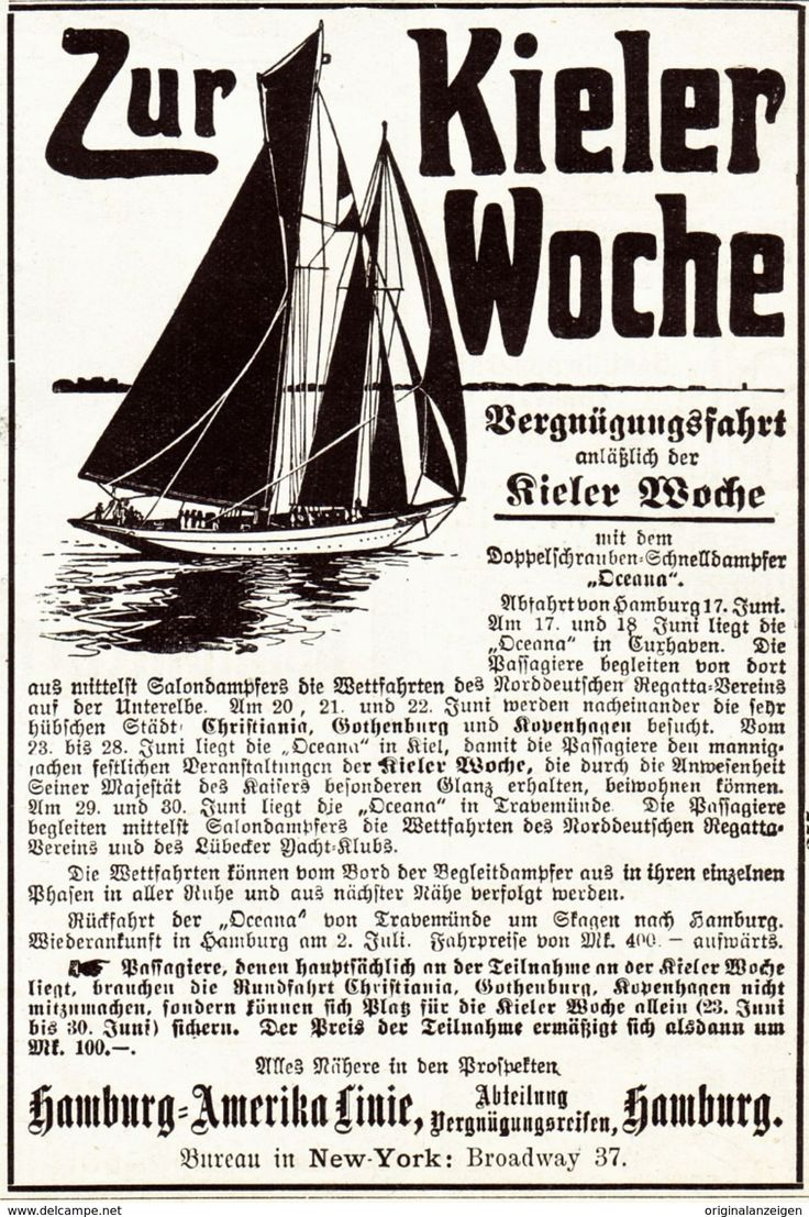 Original-Werbung / Anzeige 1907 - KIELER WOCHE / KIEL / HAMBURG-AMERIKA LINIE - Ca. 80 X 125 Mm - Werbung