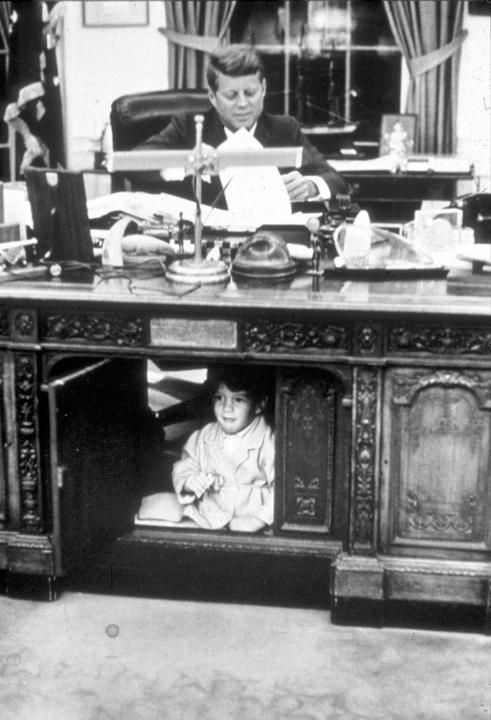 John Kennedy Jr. playing in the Oval Office: John Kennedy Jr. playing in the Oval Office at the White House, Washington, DC, October 15, 1963. (Photo by Liaison Agency)