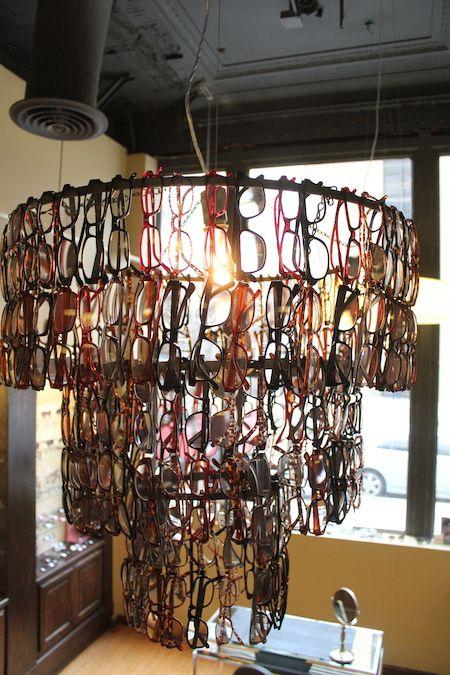 eye glasses chandelier at optometrist shop
