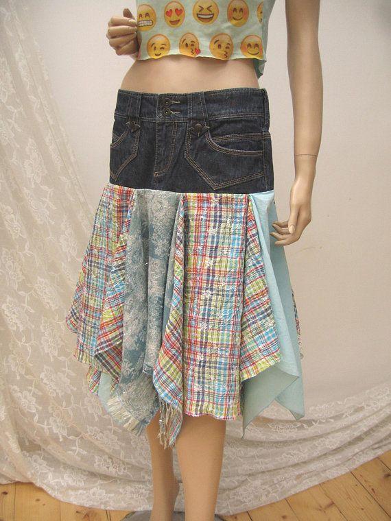gypsy cotton blouse hippie style cotton bohemian blouse upcycle clothing boho reworked mini dress Denim reworked tunic
