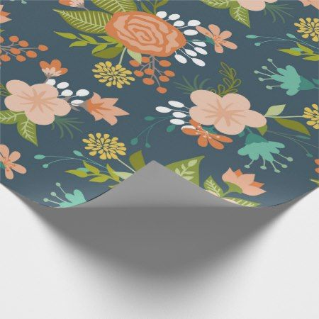 Blue and Peach Garden Floral Design Wrapping Paper - click to get yours right now!  #pattern #patterns #illustrations #illustration #flower #floral #giftwrap #giftwrapping