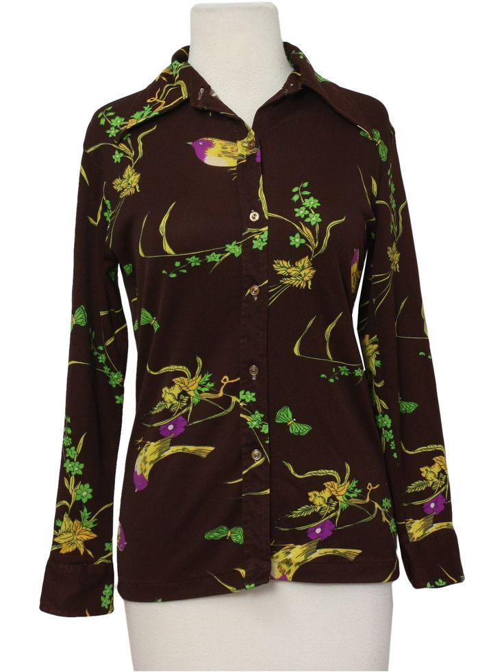 70s -Import- Womens or girls dark brown background, lime, orchid and shades