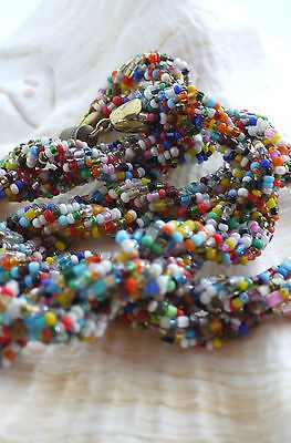 Vintage Necklace Twisted Arlequin seed beads Gift FREE Delivery and Luxury Pouch �12.99