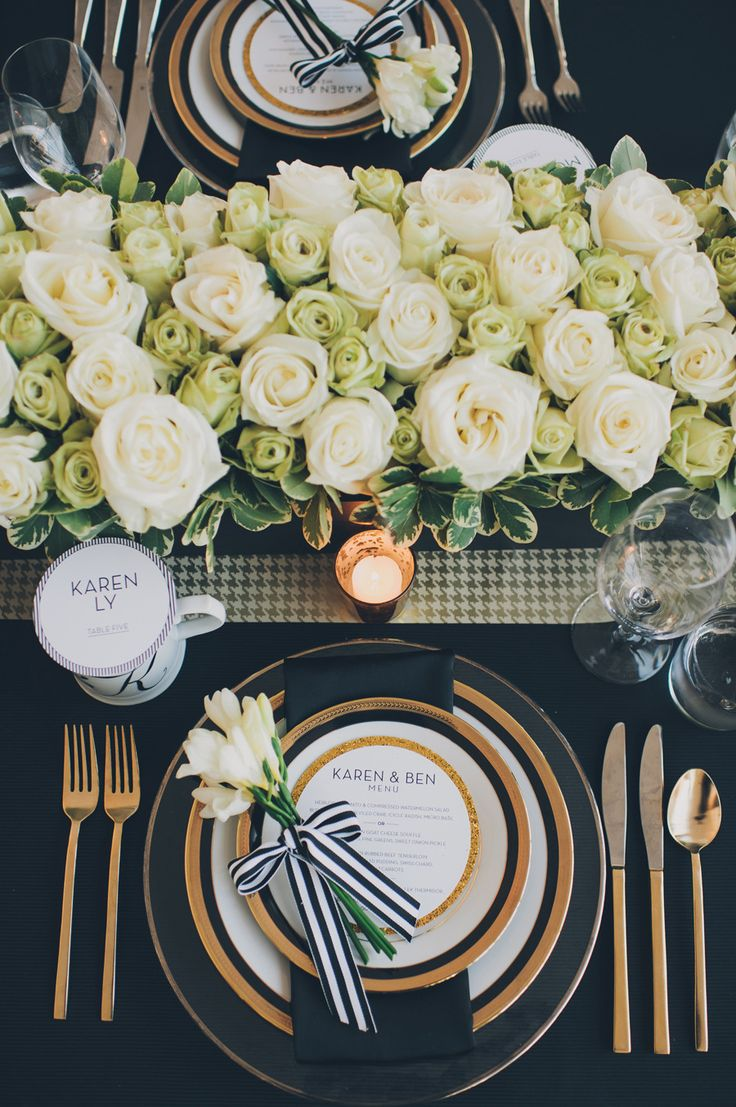 """[""""Mod Trim"""" inspiration for wedding] Gorgeous black, white and gold table setting, via Style Me Pretty."""