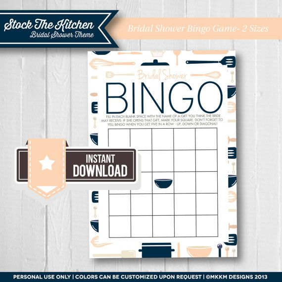 Bridal Shower Bingo: Stock The Kitchen Bridal Shower Theme - Bridal Shower Game - Bingo Cards - Navy & Peach - INSTANT DOWNLOAD