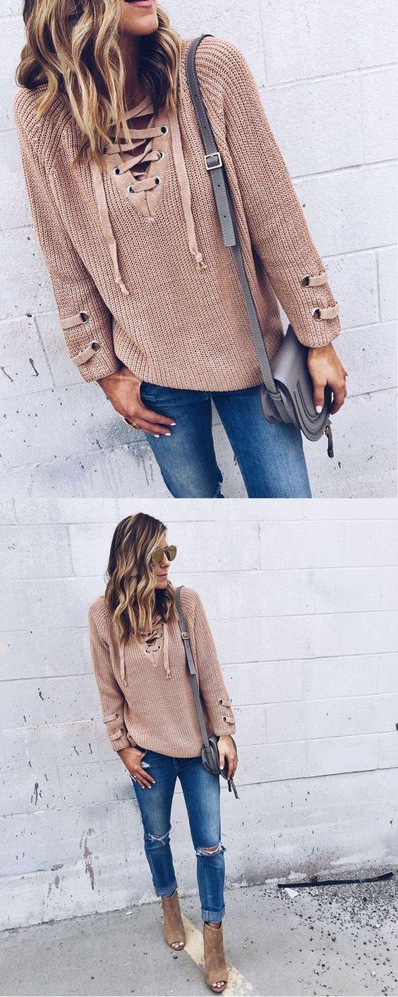 $36.99. Pink V Neck Side Split Long Sleeve Sweater