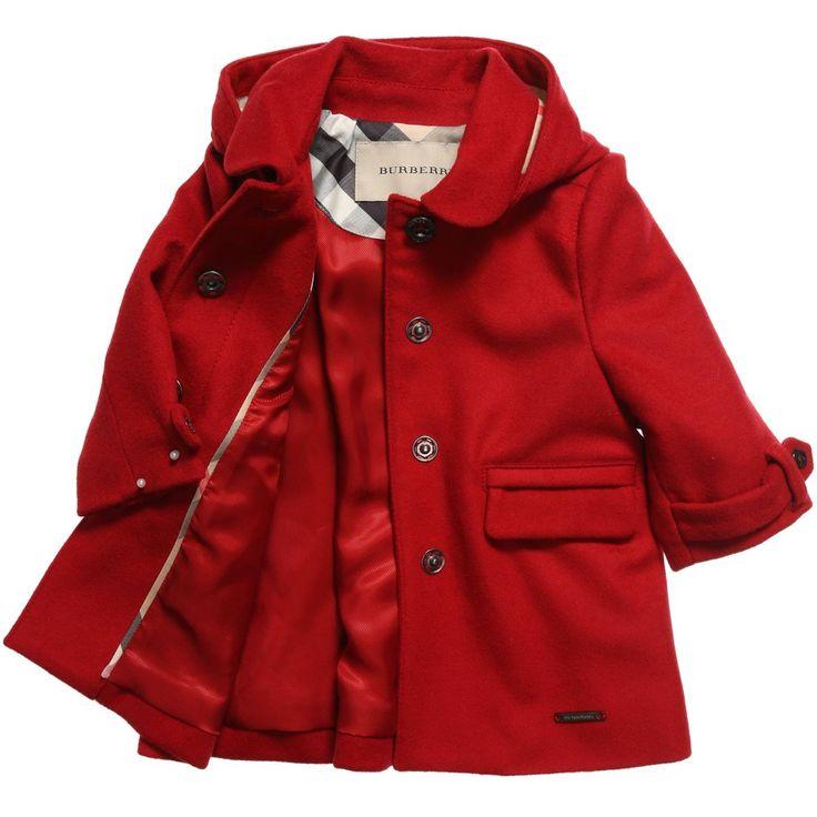 Burberry - Girls Red Wool Coat | CHILDRENSALON | Zoesies Janny