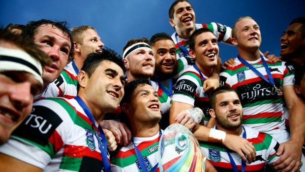 Champions again: Issac Luke and the Rabbitohs celebrate with the trophy following during the final between South Sydney and the Sharks in Auckland.