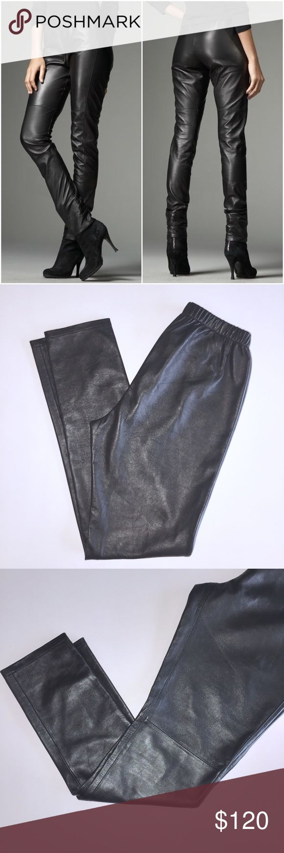 ✨🔥HOT🔥✨ Neiman Marcus Leather pants Gently worn 100% leather pants by Neiman Marcus. Your sleekest silhouette begins with a smooth dip in leather pants. Partake in the leather-leg trend and revel in the comfort of exclusive figure-hugging pants with an elasticized waist. They have little scuff by the crotch area, (see photo) Ruched, pull-on waist. Fitted from hip to hem. Check out my closet, bundle and make me an offer! Neiman Marcus Pants