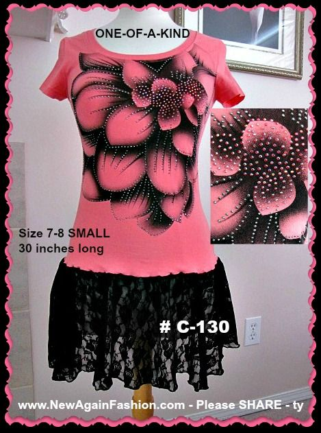 Hot pink and black restyled tunic.  Lots of bling details added. Each one of my NewAgainFahion pieces is one-of-a-kind and is only available in the size listed. Unique, eco-friendly, refashioned handmade women's clothing. TO ORDER: Email me the item number to SEWtrend@gmail.com - More of this type of refashioned items are available at www.SEWtrend.com – www.NewAgainFashion.com