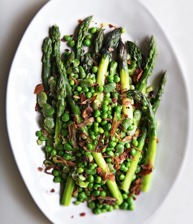 Asparagus, pea, and fava bean salad tossed in lemon juice, olive oil and parmesan