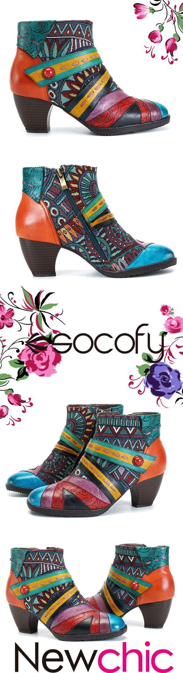 US$62.74 SOCOFY Bohemian Color Match Splicing Pattern Zipper Ankle Leather Boots