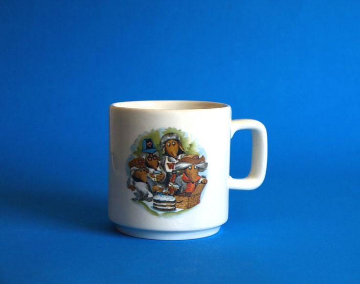 Crown Lynn Rare Wombles Mug - 1974 Vintage Retro Kelston Ceramics Orinoco, Tomsk, Wellington, Bungo Cartoon Cup - Made in New Zealand by FunkyKoala on Etsy