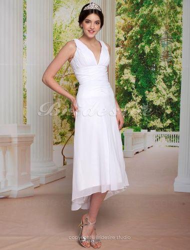 A-line Asymmetrical Chiffon V-neck Tea-length Wedding Dress - $92.99