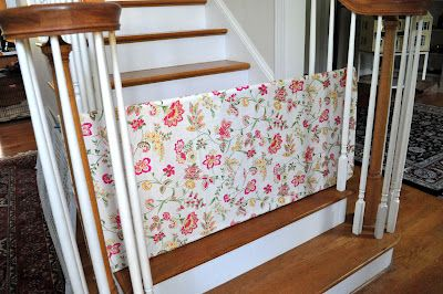 Fabric covered PVC piping= baby gate! blogged at The Young & the Rest of Us