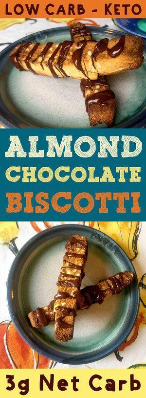 Low Carb Almond Chocolate Biscotti is Keto, Paleo, THM, Atkins, Banting, LCHF, Sugar Free and Gluten Free.