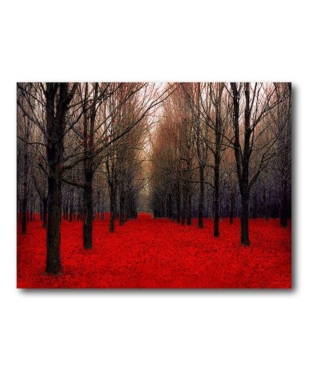 Red Forest Canvas Wall Art - LOVE this - cozy chocolate brown and red living room art