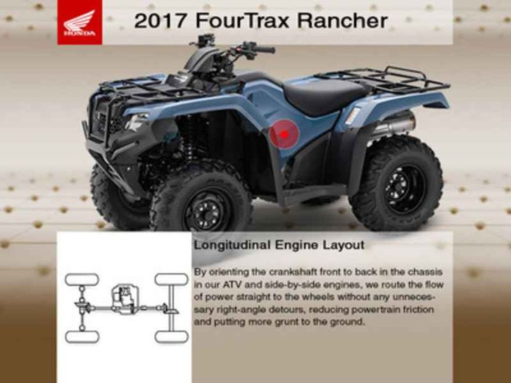 New 2017 Honda FourTrax Rancher 4X4 ATVs For Sale in Missouri. 2017 Honda FourTrax Rancher 4X4, Free Winch. CALL FOR DISCOUNT PRICE. Discounts may include incentives and discounts from the manufacturer and dealer. Price excludes manufacturer s freight, dealer setup, installed accessories, and is subject to change. 2017 Honda® FourTrax® Rancher® 4X4 Something For Just About Everyone. Any mechanic, woodworker, tradesman or craftsman knows that the right tool makes the job a whole lot easier…